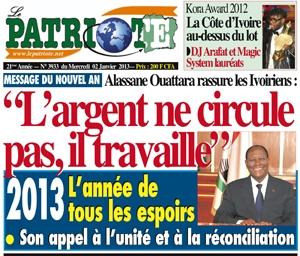La une du quotidien proche du pouvoir Le Patriote du 02 janvier 2013